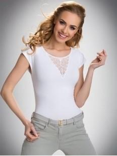 Хлопковая женская футболка с короткими рукавами и декоративными пуговицами