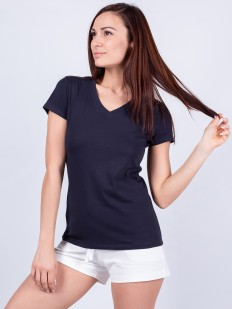 Женская домашняя хлопковая футболка темно-синяя