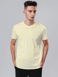 Хлопковая желтая мужская футболка с круглым вырезом