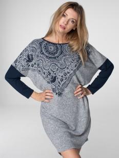 Женское домашнее свободное платье с длинным рукавом