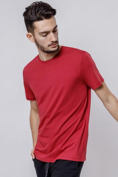 Красная мужская футболка из хлопка с круглым вырезом OXOUNO 0900 - фото 1