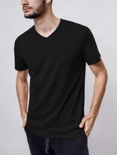 Черная мужская хлопковая футболка с v-вырезом