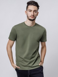 Мужская футболка из хлопка цвета хаки с круглым вырезом