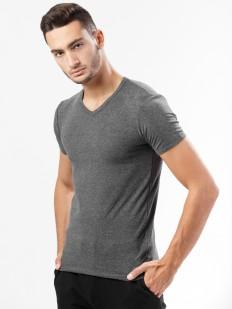 Хлопковая серая мужская футболка с v-вырезом