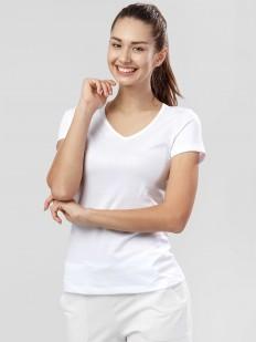 Хлопковая белая женская футболка с v-вырезом