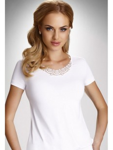 Женская трикотажная футболка из вискозы с гипюром