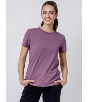 Женская сиреневая футболка из хлопка с круглым вырезом