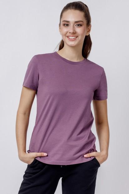 Женская сиреневая футболка из хлопка с круглым вырезом OXOUNO 0917 - фото 1
