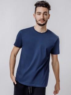 Синяя мужская футболка из хлопка с круглым вырезом