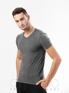Облегающая хлопковая мужская футболка с v-вырезом