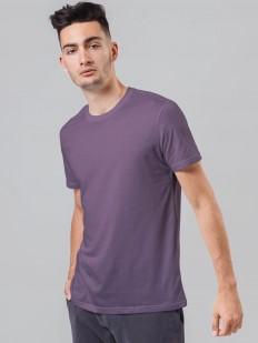 Фиолетовая мужская футболка из хлопка с круглым вырезом