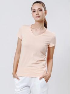 Домашняя женская футболка телесного цвета с v-вырезом