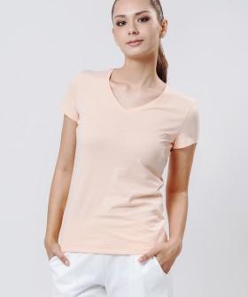 Хлопковая женская футболка телесного цвета с v-вырезом