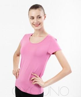 Женская домашняя хлопковая футболка розовая