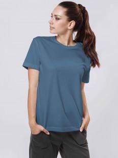 Женская однотонная синяя футболка бойфренд из хлопка