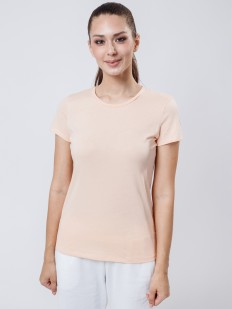 Хлопковая женская футболка телесного цвета с круглым вырезом