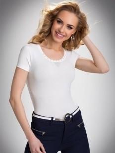 Хлопковая женская футболка с круглым вырезом и стразами
