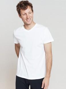 Белая мужская хлопковая футболка с v-вырезом