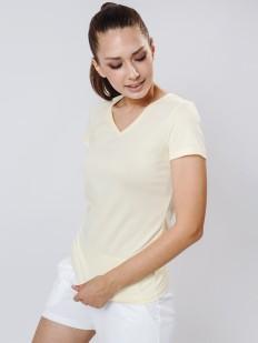 Женская желтая хлопковая футболка с v-вырезом