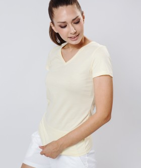 Женская домашняя хлопковая футболка с v-вырезом желтая