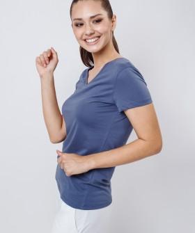 Синяя женская футболка для дома из хлопка с v-вырезом