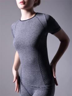 Женская спортивная футболка приталенная в цвете меланж