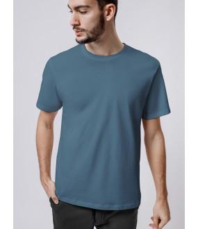 Синяя однотонная мужская футболка прямого кроя