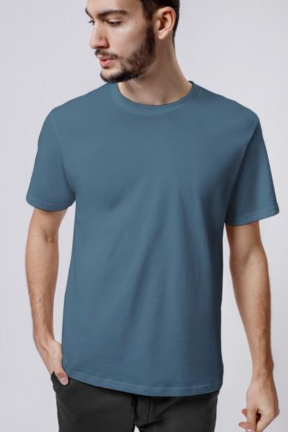 Синяя однотонная мужская футболка прямого кроя OXOUNO 1046 - фото 1