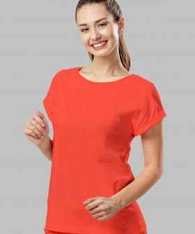 Хлопковая женская коралловая футболка с круглым вырезом