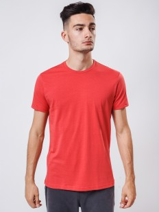 Хлопковая красная мужская футболка с круглым вырезом