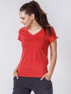 Красная женская футболка из хлопка с v-вырезом