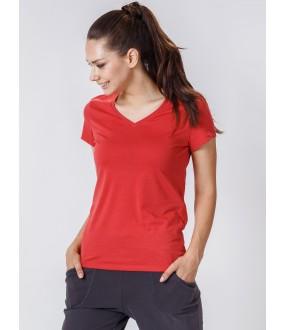 Женская домашняя хлопковая футболка с v-вырезом красная