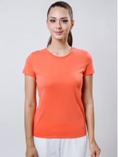 Женская футболка из хлопка кораллового цвета