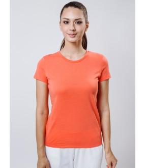 Домашняя женская футболка из хлопка кораллового цвета
