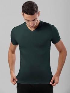 Хлопковая черная мужская футболка с v-вырезом