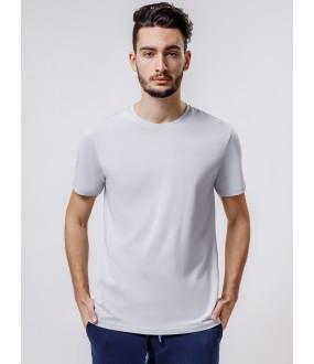 Серая мужская футболка из хлопка с круглым вырезом