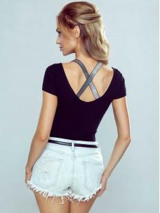 Женская хлопковая футболка с лентами на спине