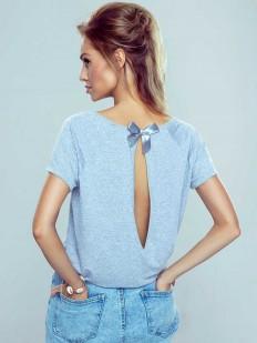 Женская хлопковая футболка с глубоким вырезом на спине