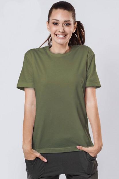 Женская свободная футболка бойфренд цвета хаки OXOUNO 0920 - фото 1