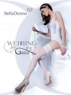 Белые свадебные чулки с бантиками и жемчужной нитью