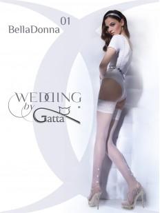 Белые свадебные чулки с жемчужинами и кружевной резинкой