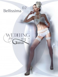 Белые свадебные чулки в сетку с кружевным поясом в комплекте
