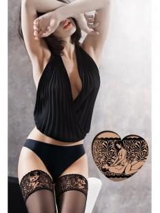 Ажурные чулки с эротическим рисунком на резинке
