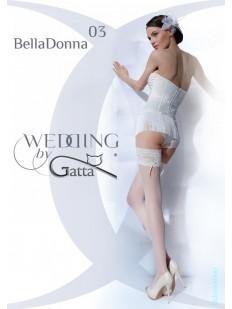 Белые свадебные чулки с бантиком и жемчужинками