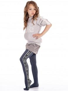 Детские хлопковые серые колготки с надписями - для девочек 10-14 лет