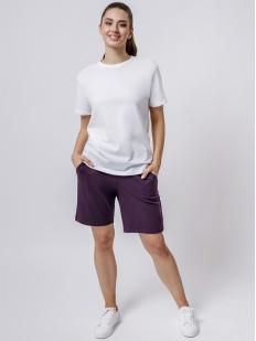 Домашние женские удлиненные шорты с карманами и завязками фиолетовые