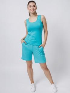 Удлиненные домашние женские шорты с карманами голубые