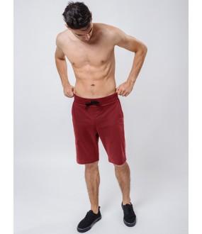 Мужские бордовые удлиненные шорты бермуды из хлопка