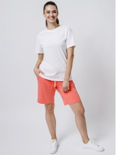 Домашние женские удлиненные шорты с карманами коралловые