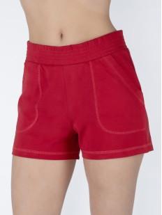 Женские красные хлопковые домашние шорты с карманами